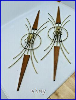 Mid Century Modern Brass Teak Candle Holder Wall Scone Set of 2 Vintage AS-IS