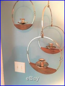 Mid Century Modern Brass Teak Wood Hanging Candle Holder Circle Geometric VTG