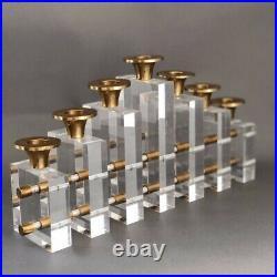 Mid Century Modern CHARLES HOLLIS JONES Lucite Brass Candle Holder Menorah'70s