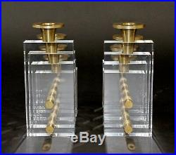 Mid Century Modern Pair Charles Hollis Jones Lucite Brass Candle Holders 1970s