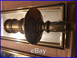 Mid Century Vintage Chapman Brass Frame Mirrored Candleholder Wall Sconce
