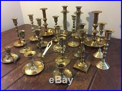Mixed Lot 20 Brass Taper Candlestick Candle Holders Patina Reception Wedding