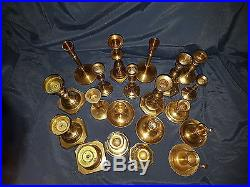 Mixed Lot 20 Vintage Brass Candle Holders Candlesticks Rich Patina Weddings #5