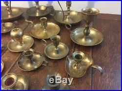 Mixed Lot 21 Brass Chamber Handle Taper Candlestick Holders Patina Reception
