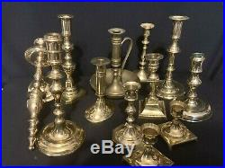 Mixed Lot of 12 Brass Candlestick Candle Holders Various Heights Patina