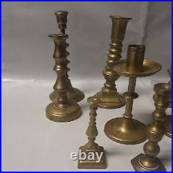 Mixed Lot of 12 Vintage Brass Candle Holders Candlesticks Heavy Patina & Shiny