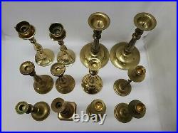 Mixed Lot of 12 Vintage Tall Heavy Brass Candle Holders Candlesticks 9+