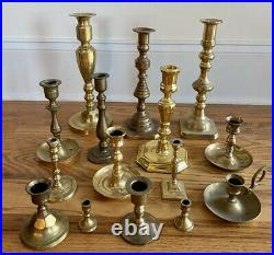 Mixed Lot of 15 Solid Brass Candle Holders Candlesticks Shiny Patina Reception