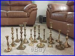 Mixed Lot of 17 Vintage Taller Brass Candle Holders Candlesticks Weddings Lot 1