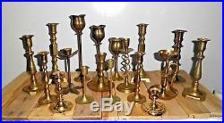Mixed Lot of 18 Vintage Brass Candle holders Candlesticks Patina Wedding Crafts