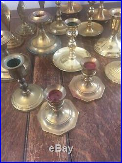 Mixed Lot of 19 Brass Vintage Taper Candlestick Candle Holders Patina Reception