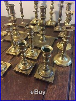 Mixed Lot of 20 Brass Candlestick Candle Holders Shiny Patina Wedding Event