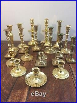 Mixed Lot of 20 Solid Brass Candle Holders Candlesticks Shiny Patina Reception