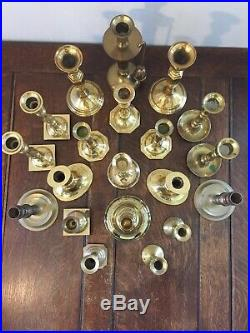 Mixed Lot of 20 Solid Brass Candlestick Candle Holders Patina Wedding Event
