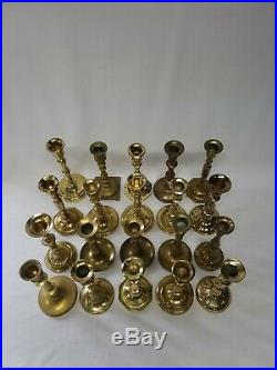 Mixed Lot of 20 Tall Vintage Solid Brass Candle Holders Candlesticks Weddings