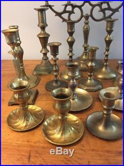 Mixed Lot of 20 Vintage Brass Candle Holders Candlesticks Candelabra Patina