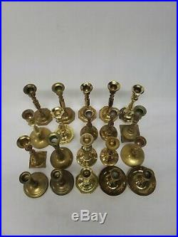 Mixed Lot of 20 Vintage Brass Candle Holders Candlesticks Patina Weddings