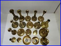 Mixed Lot of 20 Vintage Brass Candle Holders Candlesticks Patina Weddings Lot 3