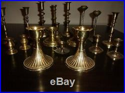 Mixed Lot of 20 Vintage Solid Brass Candle Holders Candlesticks Patina Reception