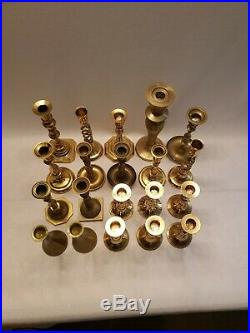 Mixed Lot of 20 Vintage Solid Brass Candle Holders Candlesticks Patina Weddings