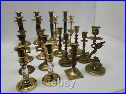 Mixed Lot of 20 Vintage Taller Brass Candle Holders Candlesticks Weddings Lot 2
