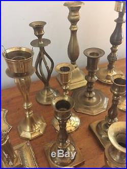 Mixed Lot of 21 Solid Brass Candle Holders Candlesticks Patina Wedding