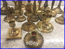 Mixed Lot of 24 Brass Vintage Taper Candlestick Candle Holders Patina Reception