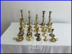 Mixed Lot of 25 Brass Vintage Taper Candlestick Candle Holders Patina Reception