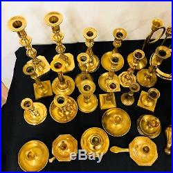 Mixed Lot of 26 Vintage Solid Brass Candle Holders Candlesticks Patina Weddings