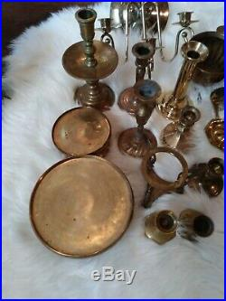 Mixed Lot of 30 Brass Candle Holders & accessories Candlesticks Wedding