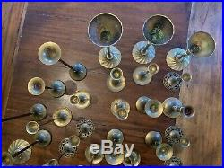 Mixed Lot of 35 Solid Brass Candlestick Candle Holders Patina Wedding Event