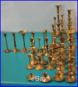 Mixed Lot of 47 Brass Vintage Candle stick Holders Weddings Decorative