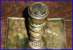 NICE ANTIQUE 17th CENTURY BRASS CANDLESTICK LIGHTING CANDLE HOLDER PRIMITIVE