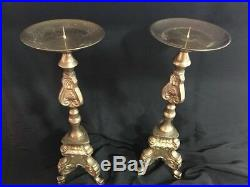 Nice Pair Of Vintage Brass Candle Holders Pillar Ornate 3-Footed Can Comes Apart