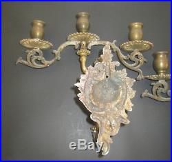Old Vintage Solid Brass Cherub Wall Candle Sconce Holders Pair Italian Style