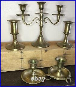 Old Vtg Antique Brass Candle Stick Chamberstick Holder Finger Handle Lot Of 17