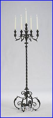 Old World Tuscan Acanthus Iron Scrolls Large Floor Candelabra Candle Holder 60H