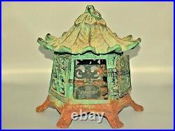 Original Vintage Antique Chinese Pagoda Bronze Tea Light Lantern Candle Holder