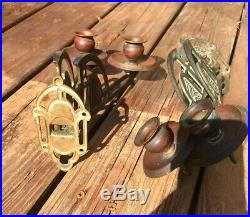 Ornate Art Deco Copper & Brass Art Nouveau Pair Mounted Sconce Candle Holders