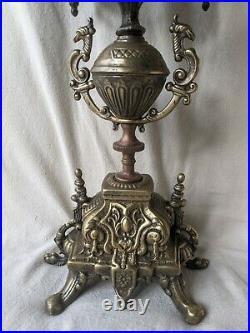 Ornate Brass Brevettato Italian Candelabra Baroque Style 5 Arm Candleholder