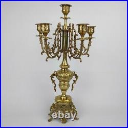 Ornate Brass Brevettato Italian STYLE Candelabra Baroque 5 Arm 19 Vintage