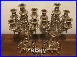 Ornate Vintage French Rococo Style Brass 5 Candle Candelabras Made in Italy