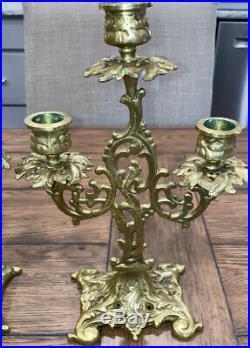 PAIR Antique Art Nouveau Brass 3 Hole Candlesticks Candle Holder 11 Tall