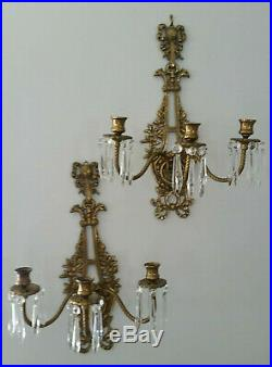 PAIR Antique Cast Brass Sconces Victorian Candle Bow Prisms French Dore' Chic
