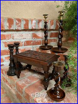 PAIR Antique English Oak Barley Twist Candlesticks Candle Holder Brass Thistle