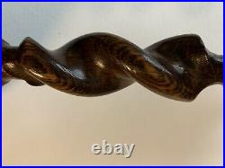 PAIR Antique English Oak Barley Twist Candlesticks Taper Candle Brass Thistle