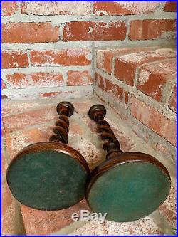PAIR Antique English Oak OPEN Barley Twist Candlesticks Candle Holder Brass
