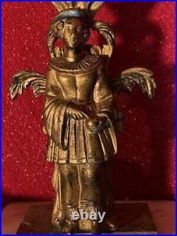 PAIR Antique Victorian Figural Brass Candle Stick W Prisms Bobeches Lustres