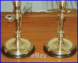PAIR Brass Candlestick LAMPS Candle Holders PAIR Colonial Williamsburg (4M)