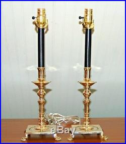 PAIR Brass Candlestick LAMPS Candle Holders PAIR Colonial Williamsburg Lion Feet